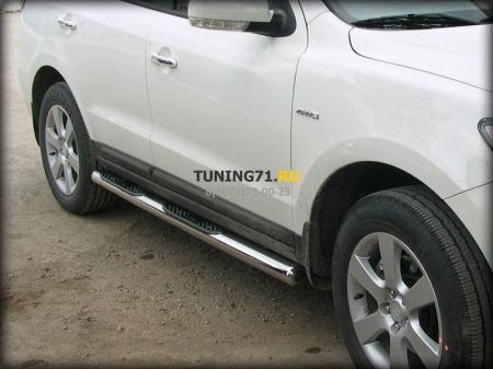 Hyundai Santa Fe 2010-2012г.в.-Пороги d-76 степ
